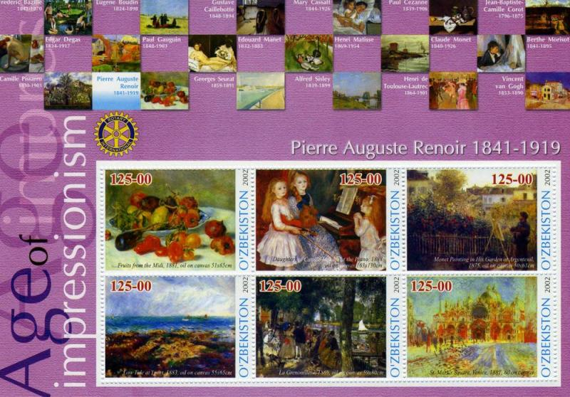 Uzbekistan 2002 Auguste Renoir Paintings Rotary Sheet Perforated mnh.vf