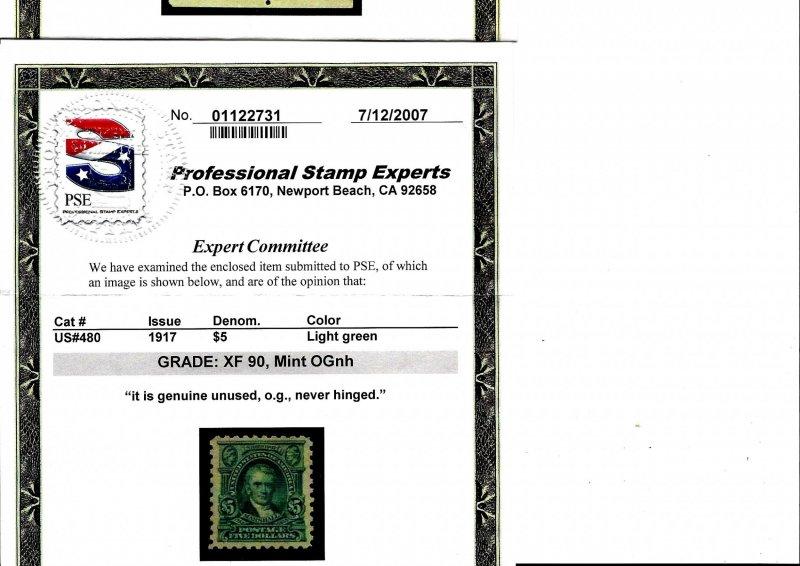 480 Mint,OG,NH... PSE Graded XF 90... SMQ $650.00