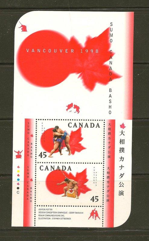 Canada 1724b Sumo Canada Basho Souvenir Sheet MNH