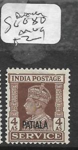 INDIA NABHA (P2309B) KGVI  4A SERVICE SG O80  MOG