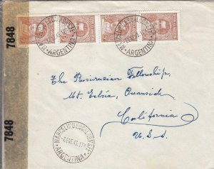 1943, Santa Fe, Argentina to Los Angeles, CA, Under Cover Address (C3016)