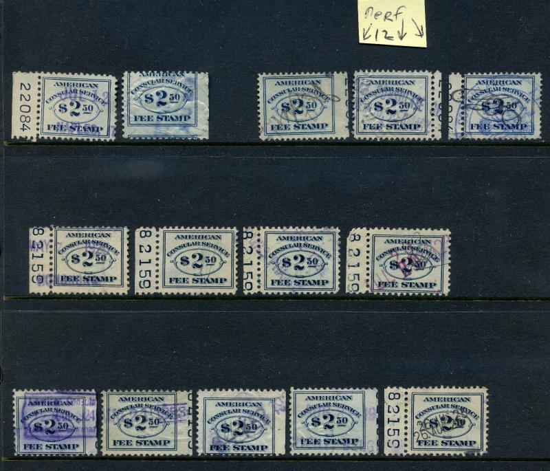 Scott #RK5 & RK18 Consular Service Fee Revenue Plate # & imprint Stamp Large Lot