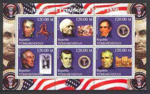 Turkmenistan 2000 US Presidents #05 perf sheet of 6 unmou...