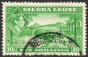 SIERRA LEONE-1938 10/- Emerald-Green Sg 199 FINE USED V42866