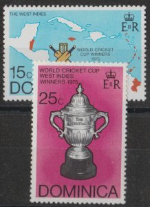 g1012) Dominica. 1976 MM SG 531,532. World Cup Cricket