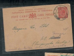 TANGANYIKA  COVER (P2908B)  1922 KGV 15C PSC  FROM TANGA TRO USA