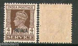 India PATIALA KGVI 4As SERVICE SG O80 / Sc O72 £2 MNH