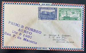1930 Dominican Republic First Flight Airmail Cover FFC To British Guiana #C15