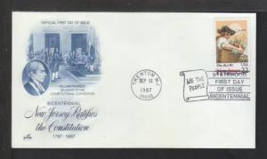 US 2338 New Jersey 1987 Artcraft U/A FDC