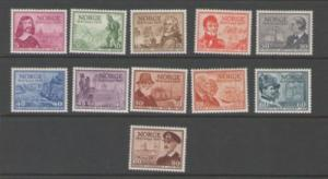 Norway Sc 279-89 1947 300 years Post Office stamps mint NH
