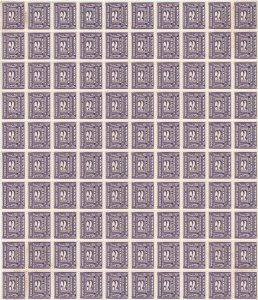 J12, block of 100 stamps VF MNH, four corners foxed, Cat $1500+ NH, Canada mint