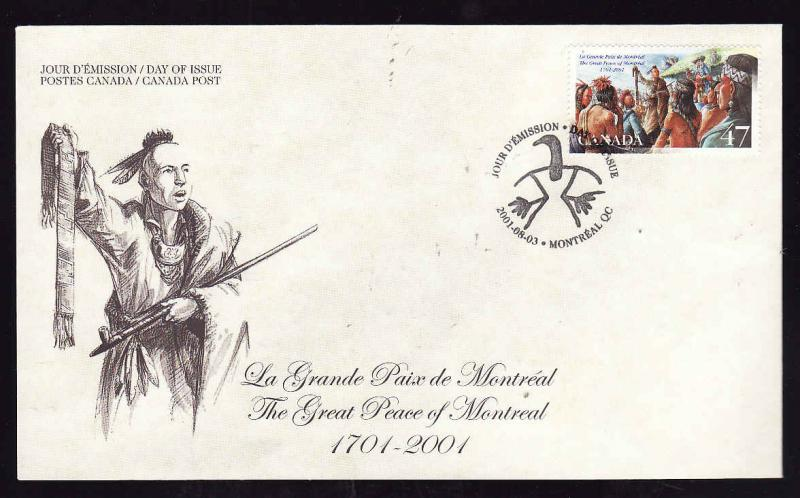 Canada-Sc#1915-stamp on FDC-Great Peace of Montreal-2001-