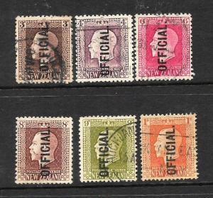 NEW ZEALAND 1915   KGV   RECESS   OFFICIALS  SET 6   FU