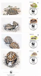 [54238] Monaco 1991 Reptiles WWF Turtles FDC 4 covers