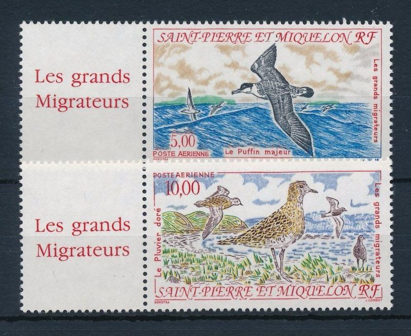 [34511] Saint Pierre & Miquelon 1993 Birds Vögel Oiseaux Ucelli with labels MNH