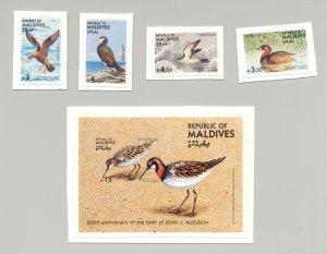 Maldives #1079-1083 Audubon, Birds 4v & 1v S/S Imperf Proofs on Cards