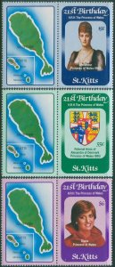 St Kitts 1982 SG95-97 21st Birthday Princess Diana with tabs set MNH