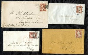 p019 - USA Lot of (4) 19th Century Covers. St Louis Boston & other