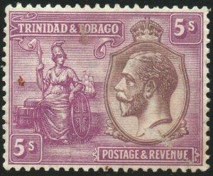 TRINIDAD & TOBAGO-1922-28 5/- Dull Purple & Mauve Sg 228 MOUNTED MINT V48459