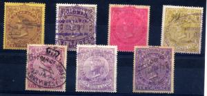 Cape of Good Hope 1885 revenues 7 values to 10/- fine used
