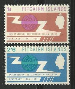 Pitcairn Island # 52-53  I.T.U. Centenary     (2) Mint NH