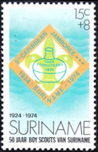 Surinam # B209 mnh ~ 15¢ + 8¢ Caribbean Scouting Jamboree Emblem