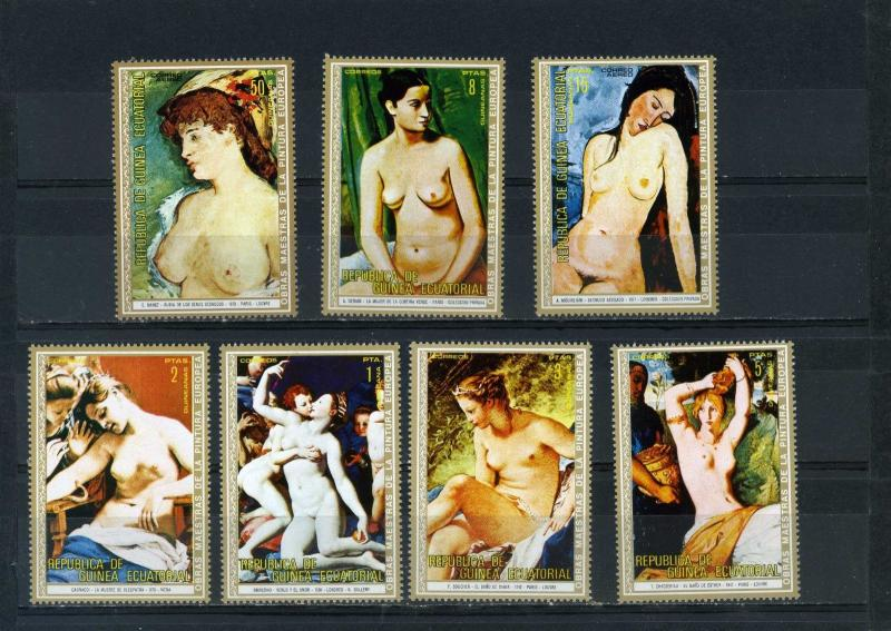 EQUATORIAL GUINEA PAINTINGS NUDES SET OF 7 STAMPS MNH