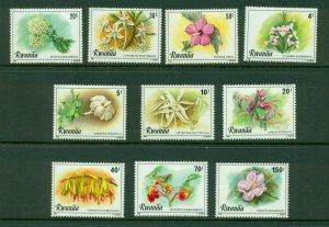 Rwanda #1009-18  (1981 Flowers set) VFMNH CV $11.95