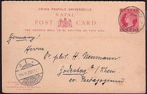 NATAL 1902 QV 1d postcard Durban to Germany - reply card still attached (unused)