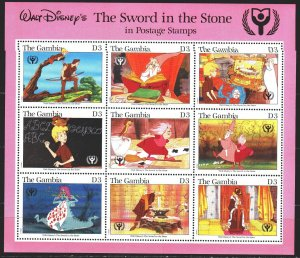 Gambia. 1991. Small sheet 1102-10. Year of Education, Animation, Disney. MNH.