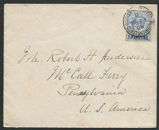 TURKEY BRITISH PO 1908 cover to USA, BR PO CONSTANTINOPLE cds..............56691