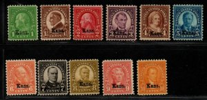 $US Sc#658-668 M/LH+NH/F-VF, complete set, Kansas Overprint set, Cv. $216+