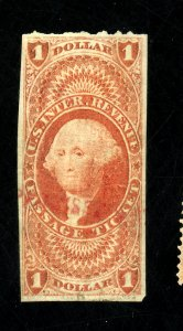 R74a USED F-VF RED CANCEL MINOR WRINKLES Cat $350