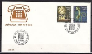Iceland, Scott cat. 632-633. Iceland`s First Telephone. First day cover. ^