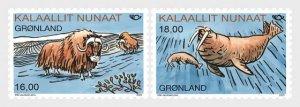 2020 Greenland Mammals Musk Ox & Walrus Norden (2)  (Scott NA) MNH
