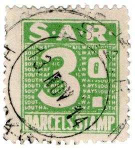 (I.B) South Africa Railways : Parcel Stamp 3d