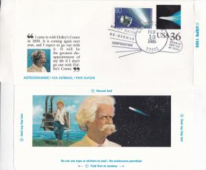 West Germany-USA Mark Twain-Halleys Comet 36c Aerogramme Unused FDI VGC Rare