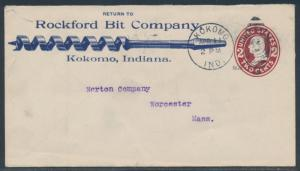 1909 2¢ ENTIRE VF FULL ILLUST BLUE ADVT ROCKFORD BIT COMPANY 7R4305 HSAM