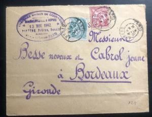 1902 Paris France Commercial Cover To Bordeaux