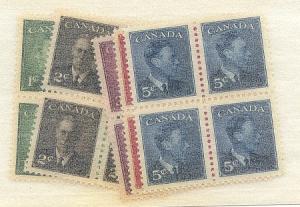 Canada - 1950 KGVI Set of Five in  Blocks mint #289-293