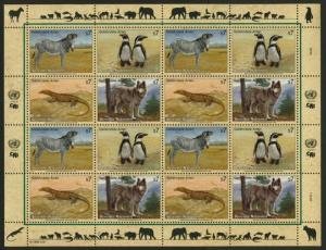 United Nations - Vienna 146a Sheet MNH Animals, Birds, Zebra, Penguin, Wolf