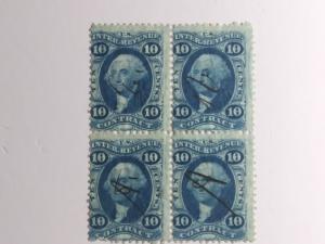 SCOTT # R 34 C USED BLOCK OF 4 TEN CENT CONTRACT REVENUE OLD PAPER 1860