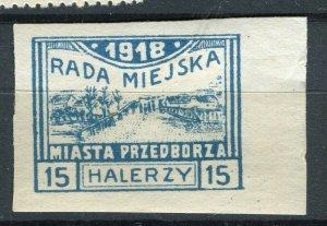 POLAND; 1917-18 early Local issue RADA MIEJSKA mint hinged 15h. IMPERF