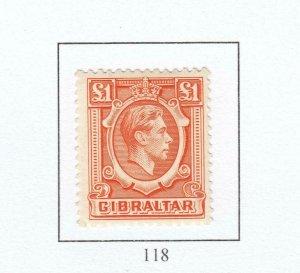 GIBRALTAR # 118 VF-MLH KGV1 £1 CAT VALUE $37.50