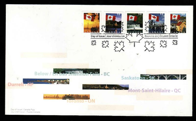 Canada-Sc#2076-80-stamps on FDC-Flags over Canada-2004