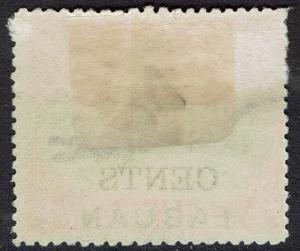 LABUAN 1899 4 CENTS OVERPRINTED CROCODILE 12C PERF 14.5 - 15