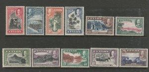 Ceylon 1935/6 Defs MM SG 368/78