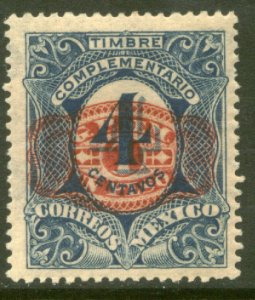 MEXICO 600, $1P ON 4¢ BARRIL SURCHARGE. UNUSED, H OG. VF.