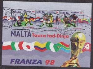 Malta # 952a, World Cup Soccer , Souvenir Sheet, Used 1/2 Cat..