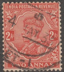 India stamp, Scott# 127, used, two annas, postmark, red orange, #M091